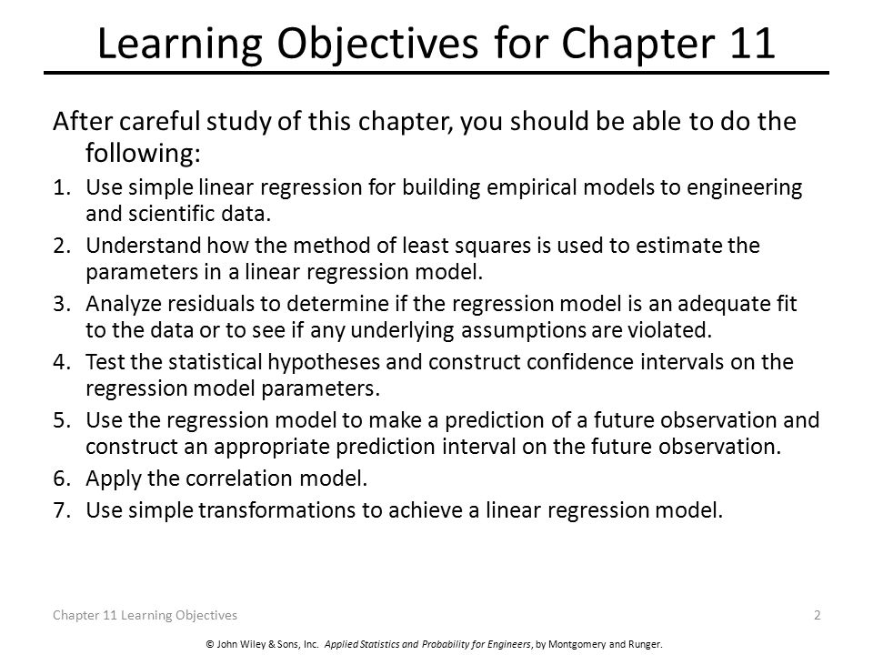 Learning Objectives for Chapter 11