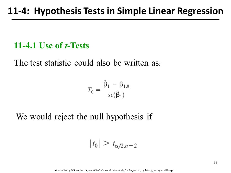11-4: Hypothesis Tests in Simple Linear Regression