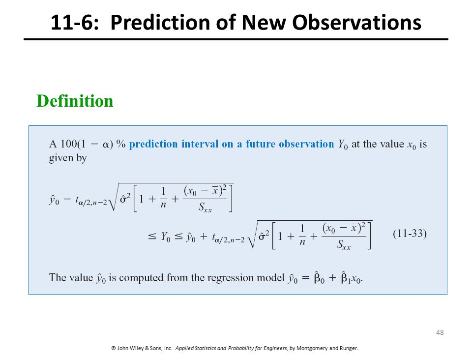 11-6: Prediction of New Observations