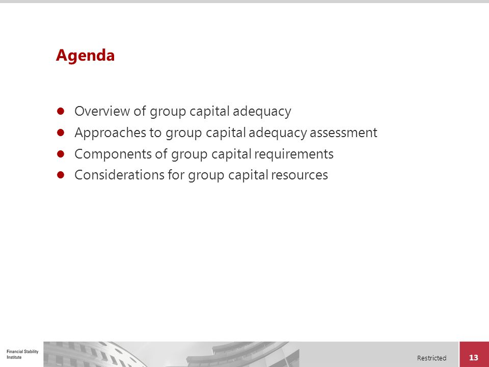 Agenda Overview of group capital adequacy