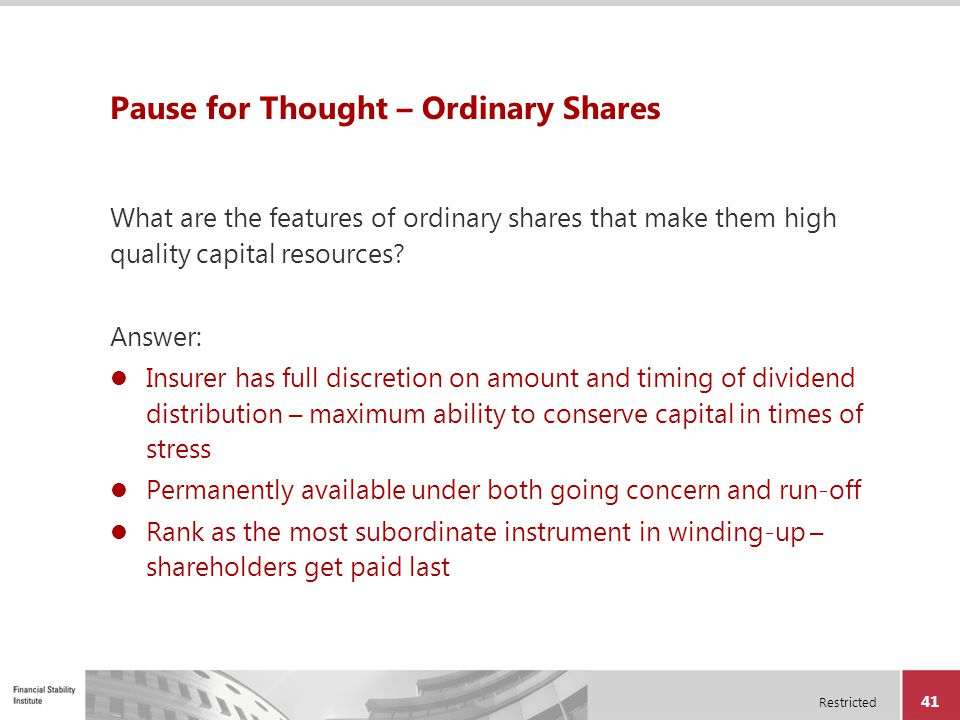 Pause for Thought – Ordinary Shares