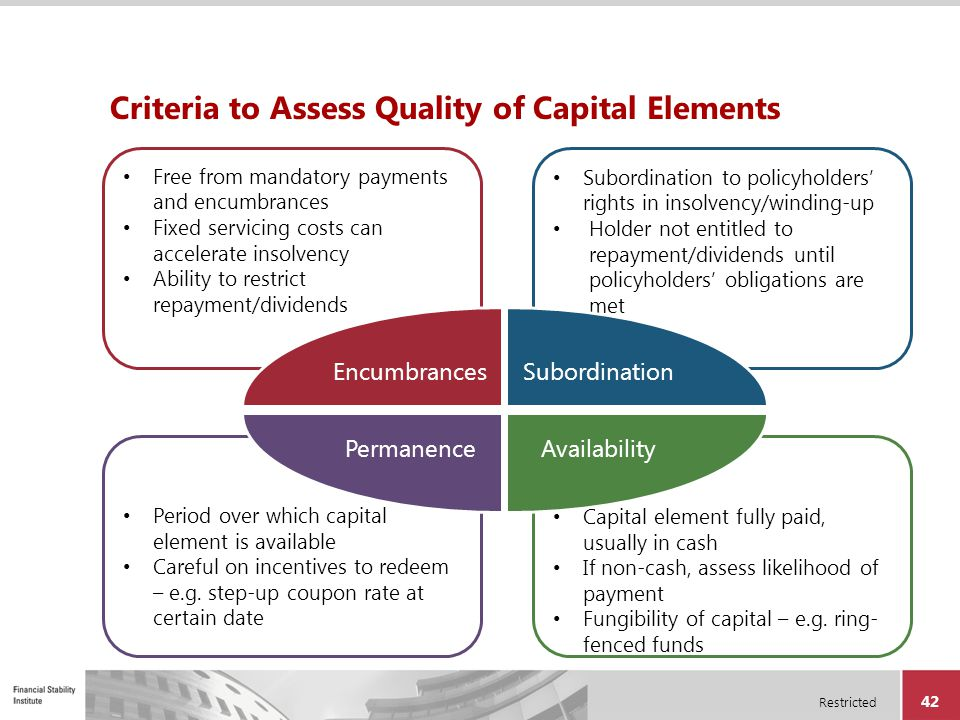 Criteria to Assess Quality of Capital Elements