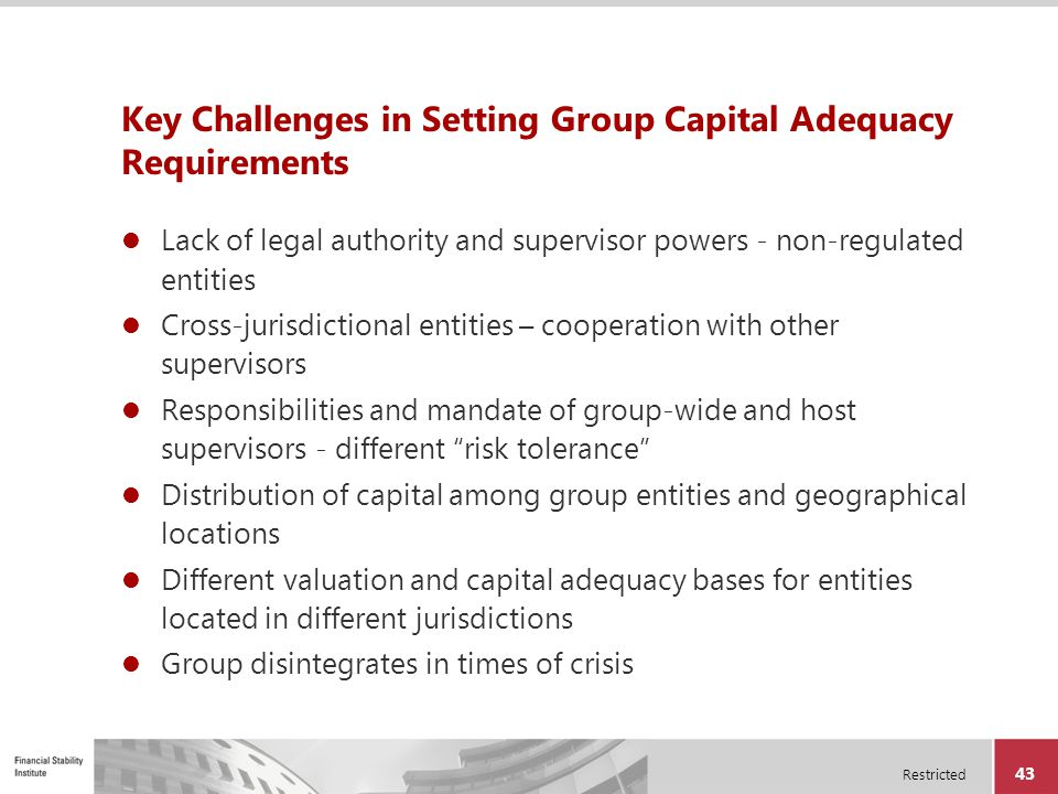 Key Challenges in Setting Group Capital Adequacy Requirements