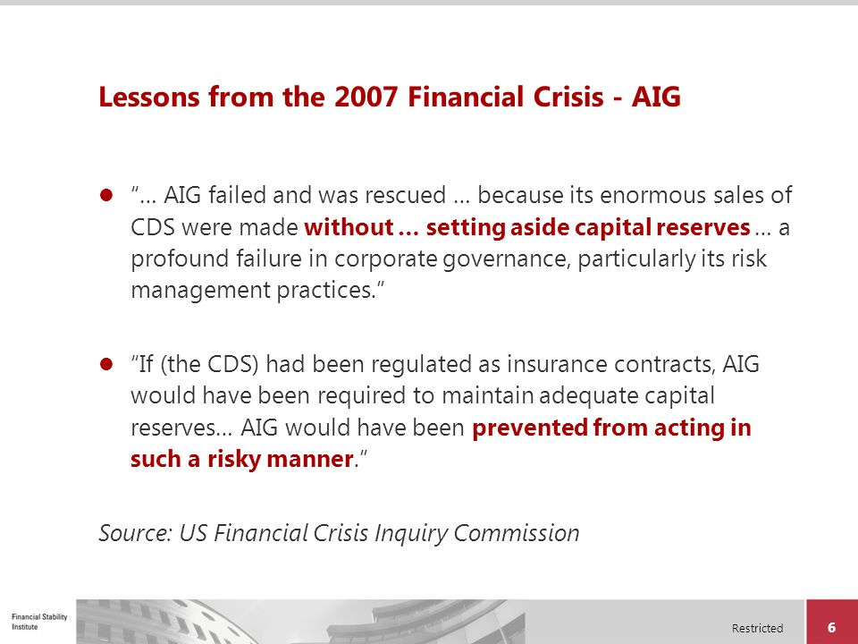 Lessons from the 2007 Financial Crisis - AIG