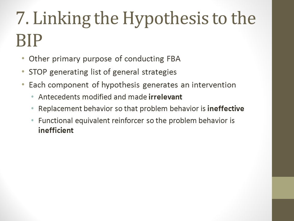7. Linking the Hypothesis to the BIP