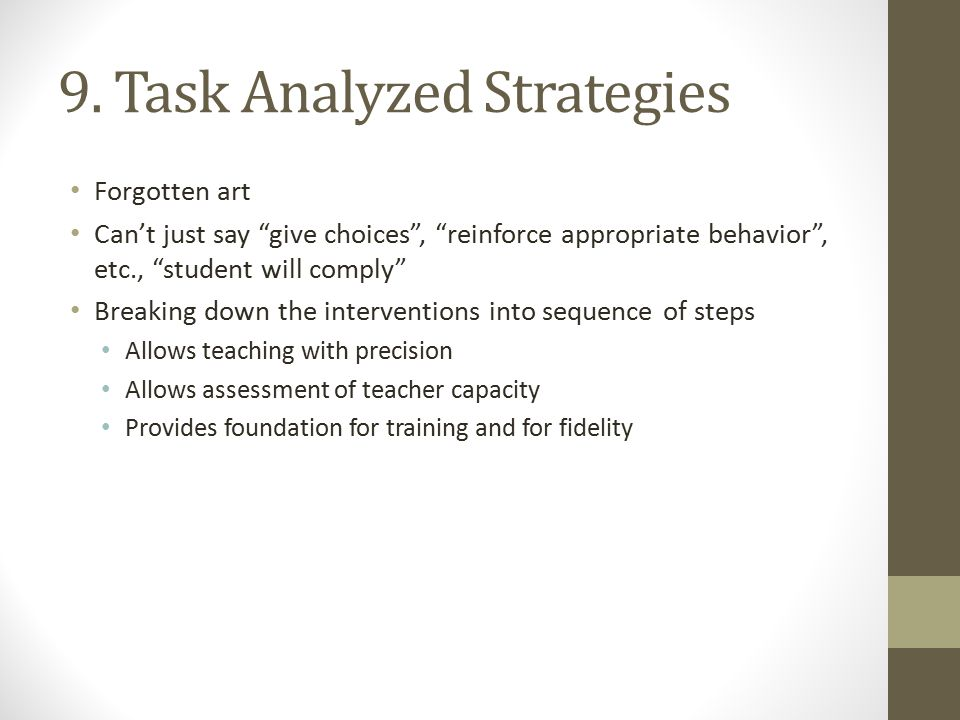 9. Task Analyzed Strategies