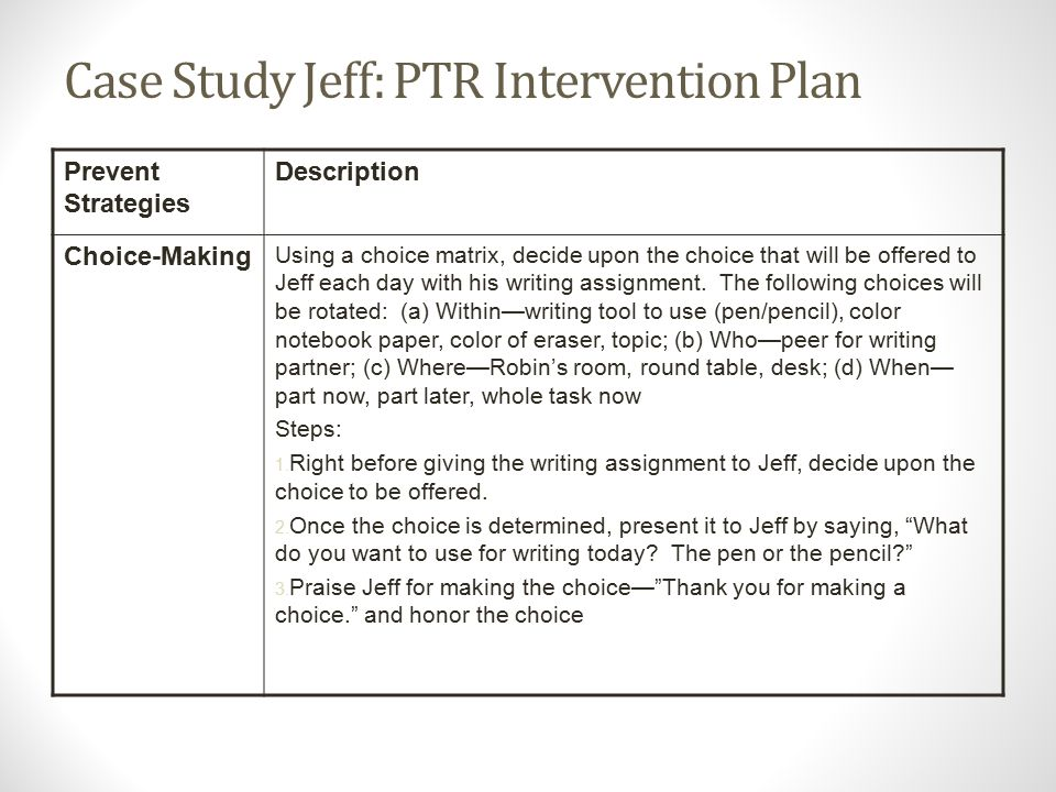Case Study Jeff: PTR Intervention Plan