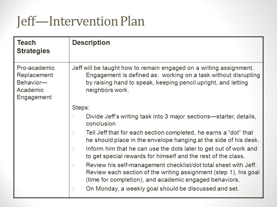 Jeff—Intervention Plan