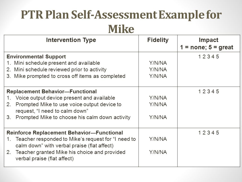 PTR Plan Self-Assessment Example for Mike