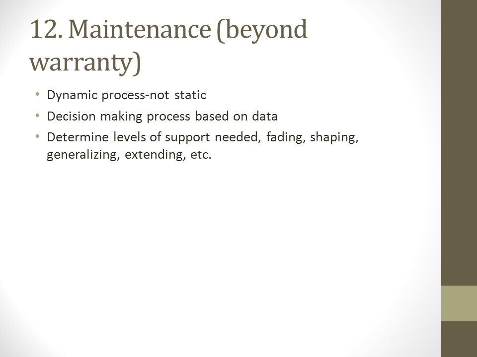 12. Maintenance (beyond warranty)