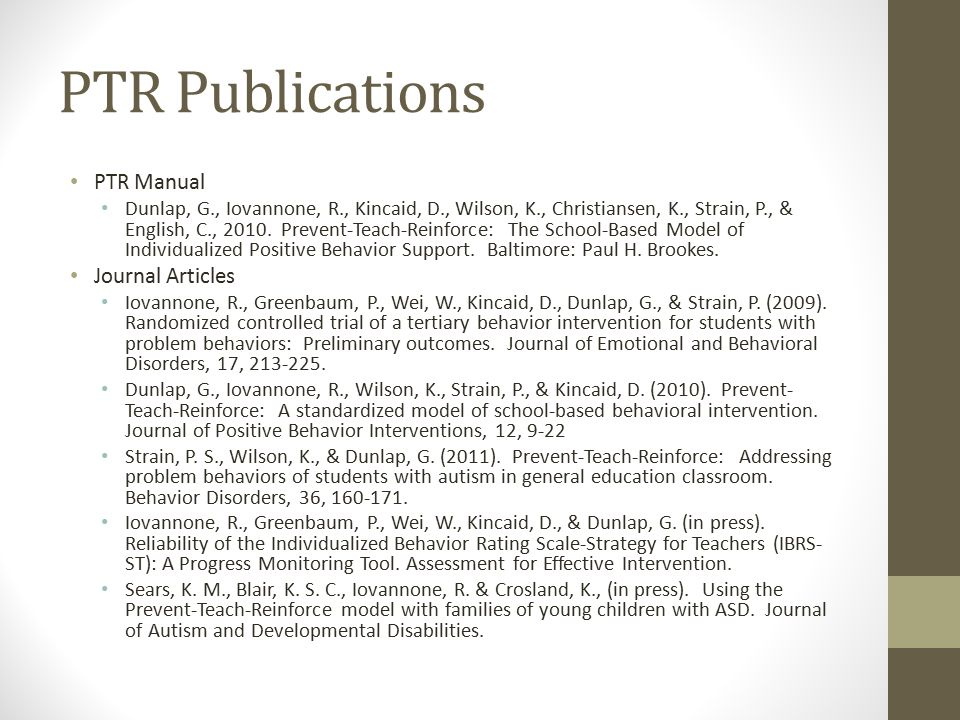 PTR Publications PTR Manual Journal Articles