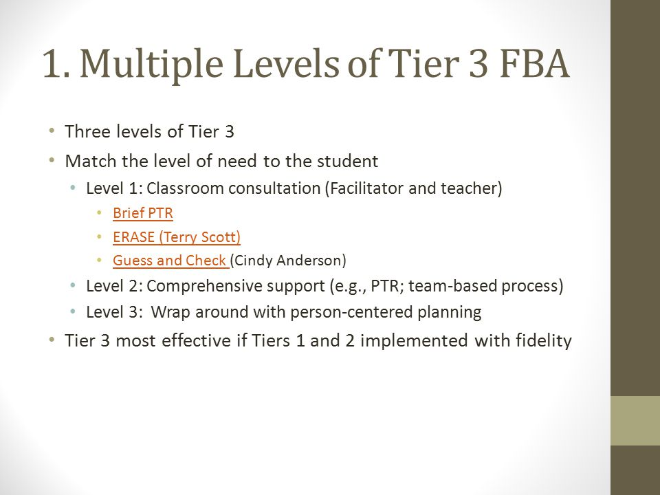 1. Multiple Levels of Tier 3 FBA