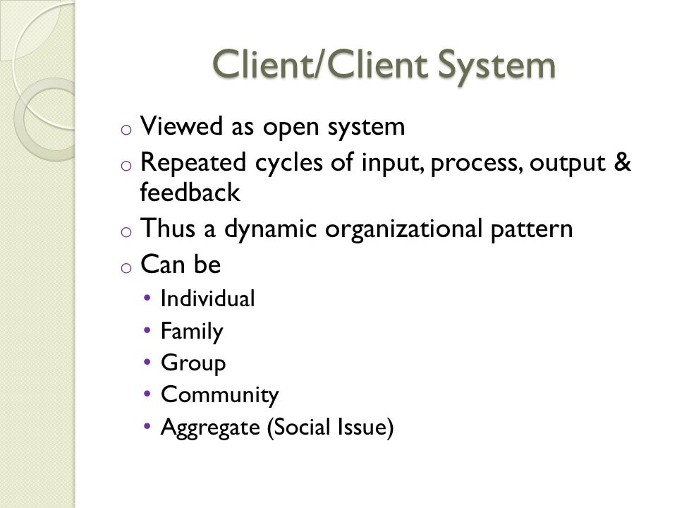 Client/Client System Viewed as open system