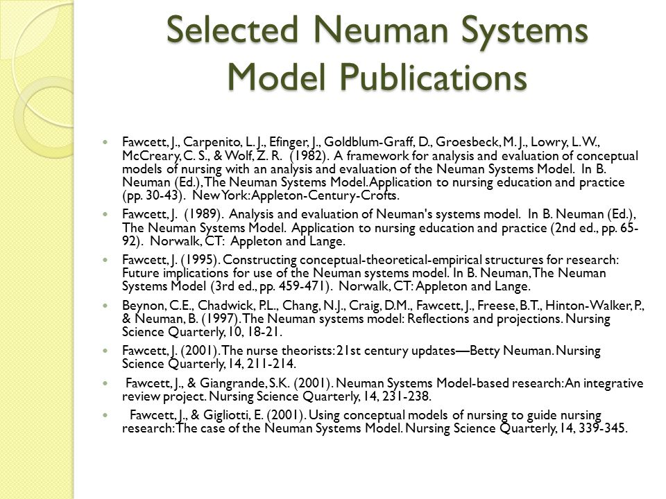 Selected Neuman Systems Model Publications