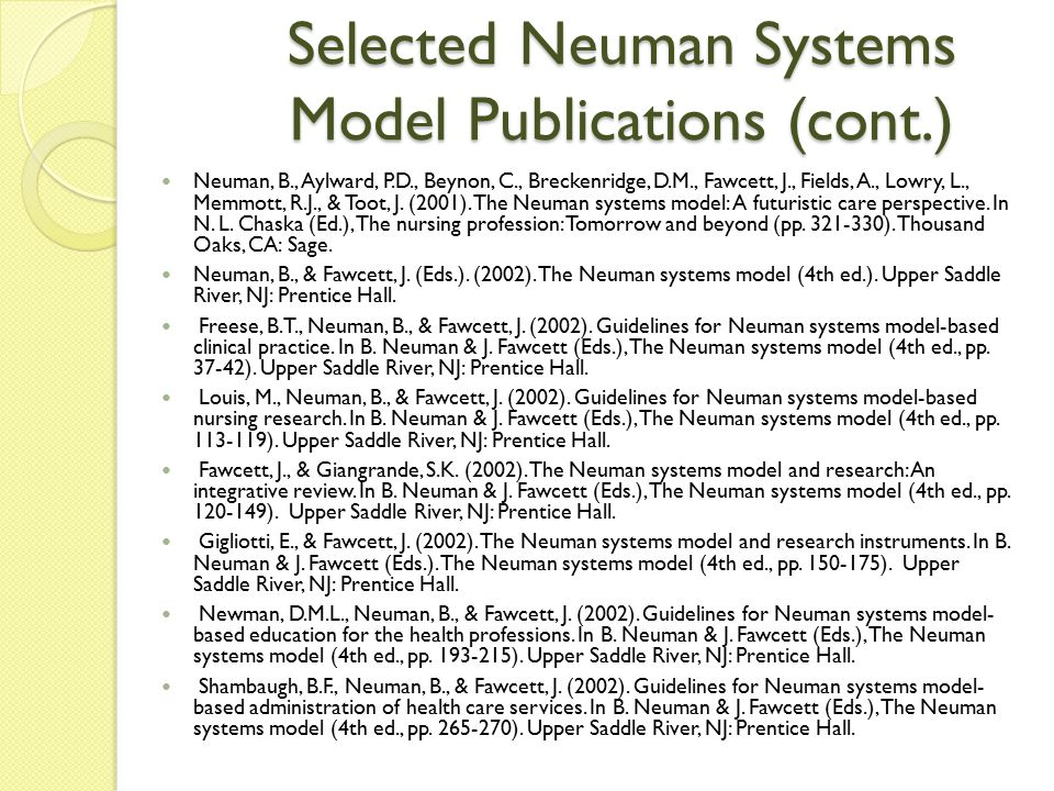 Selected Neuman Systems Model Publications (cont.)