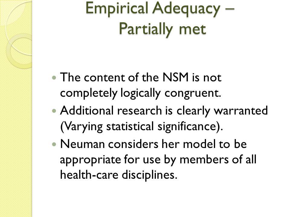 Empirical Adequacy – Partially met