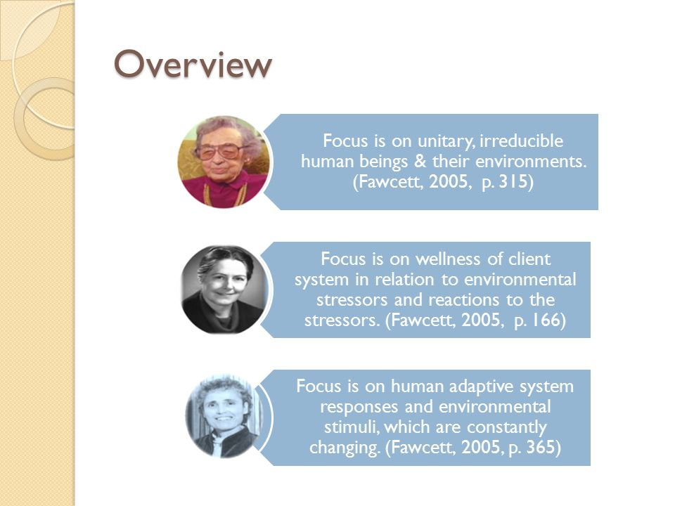 Overview Focus is on unitary, irreducible human beings & their environments. (Fawcett, 2005, p. 315)