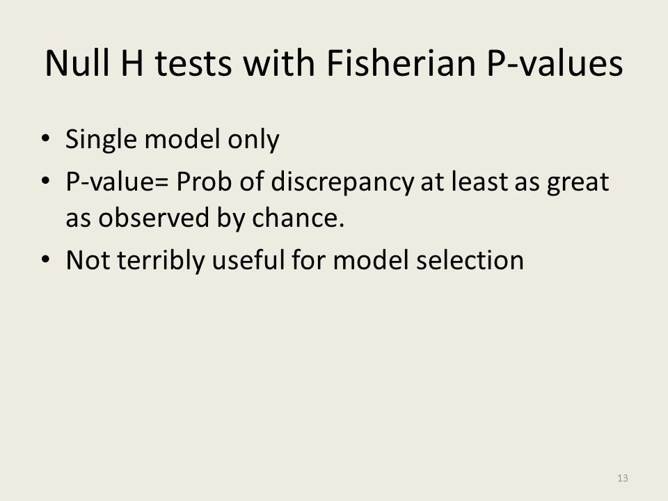 Null H tests with Fisherian P-values