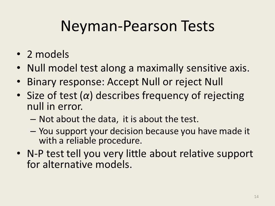 Neyman-Pearson Tests 2 models