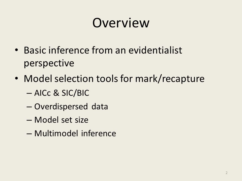 Overview Basic inference from an evidentialist perspective
