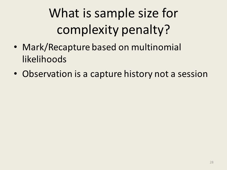 What is sample size for complexity penalty