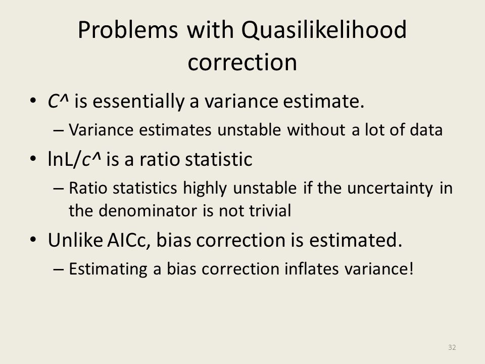 Problems with Quasilikelihood correction
