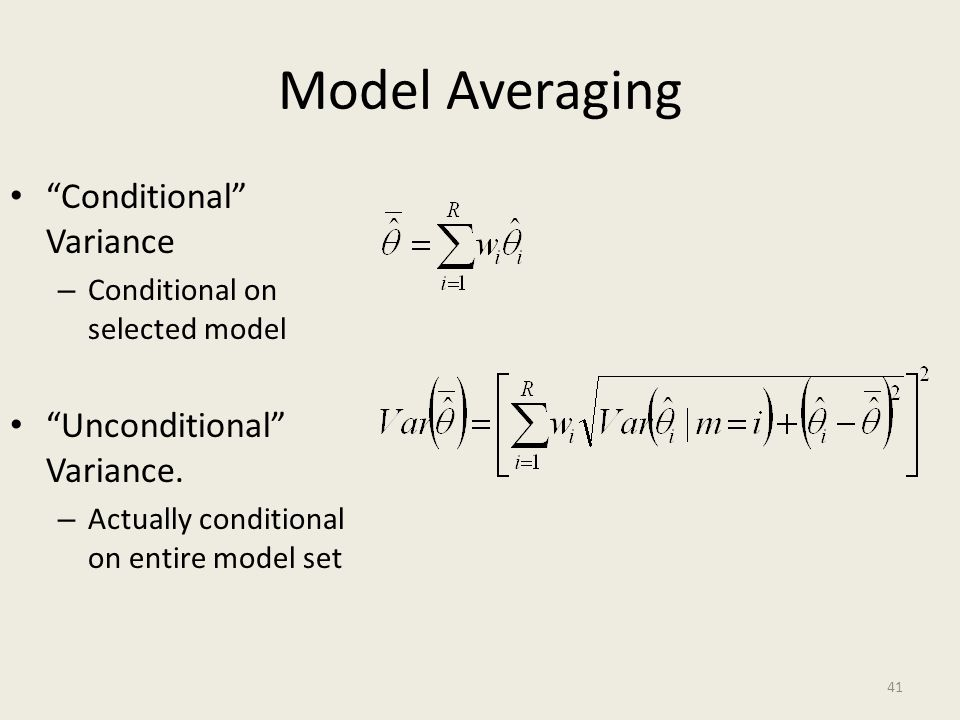 Model Averaging Conditional Variance Unconditional Variance.