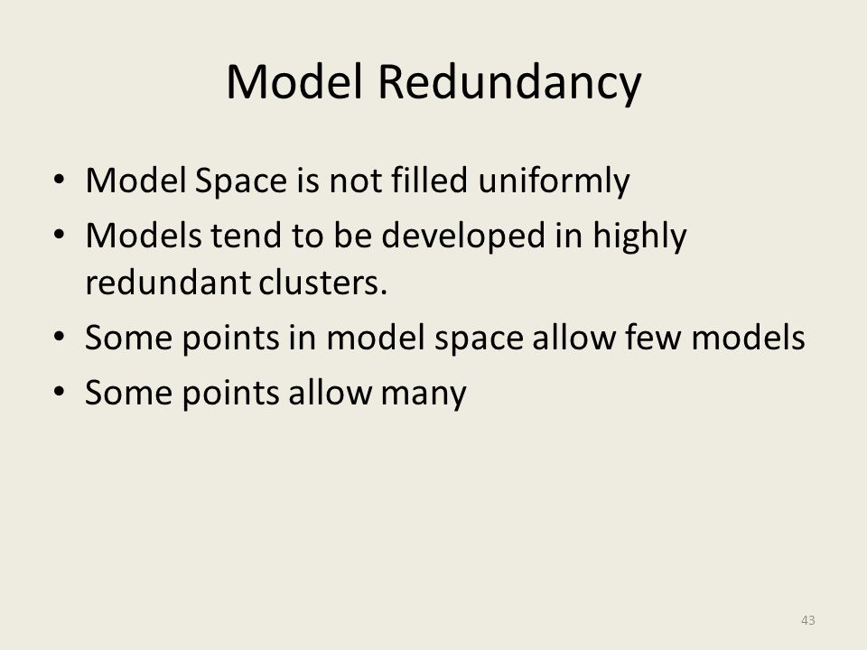 Model Redundancy Model Space is not filled uniformly