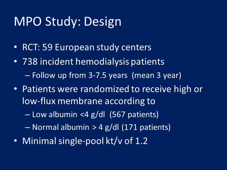 MPO Study: Design RCT: 59 European study centers