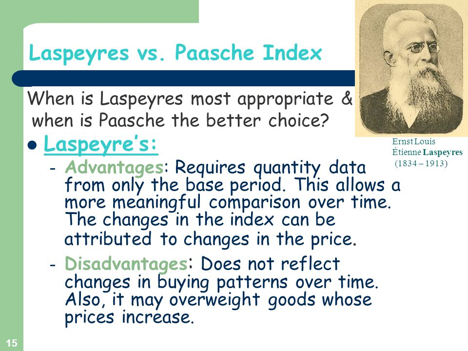 Laspeyres vs. Paasche Index