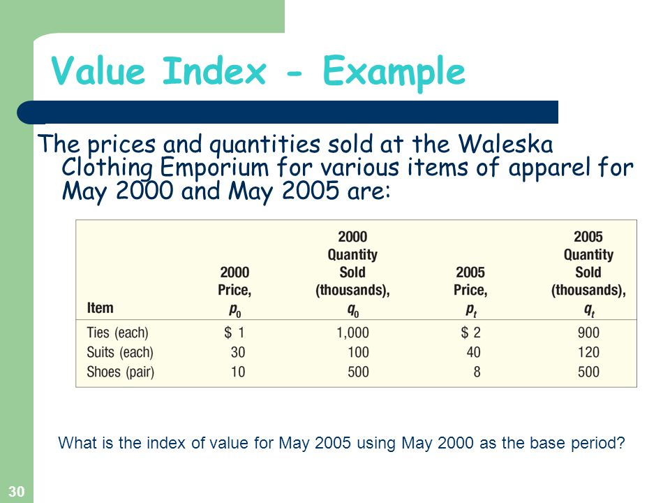 Value Index - Example The prices and quantities sold at the Waleska Clothing Emporium for various items of apparel for May 2000 and May 2005 are: