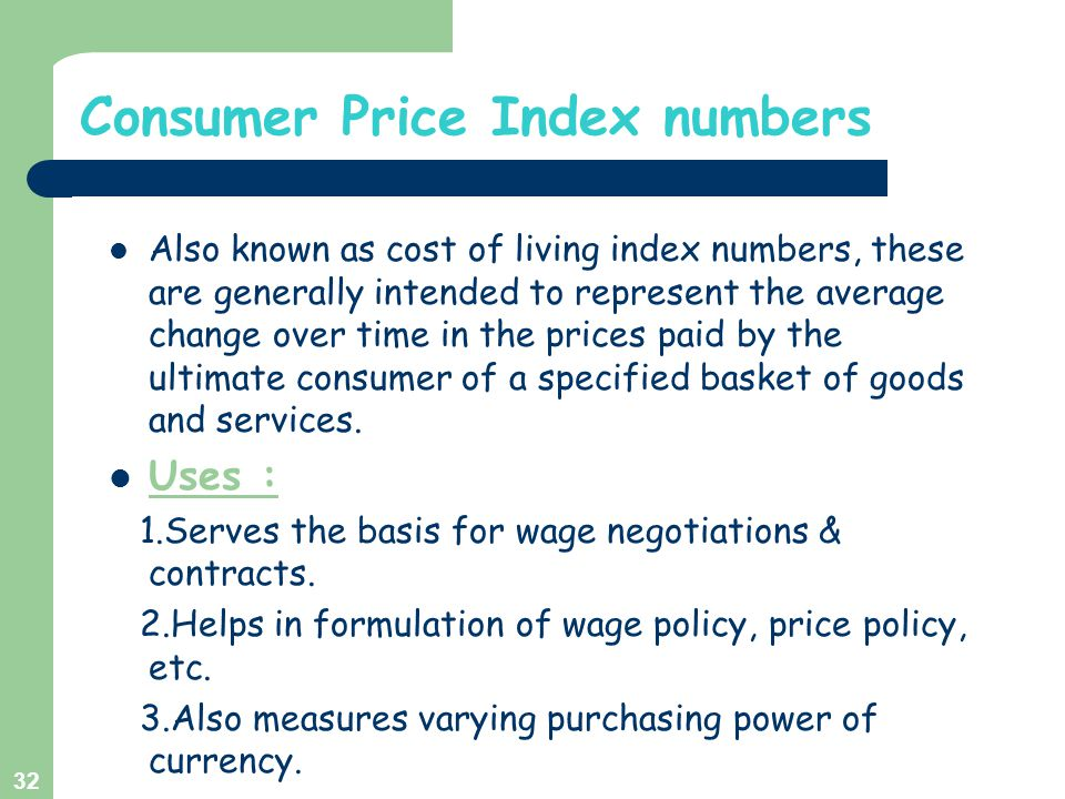 Consumer Price Index numbers