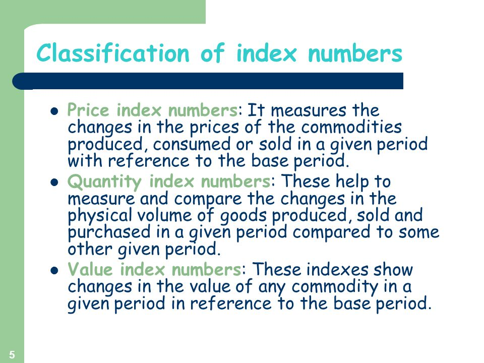Classification of index numbers