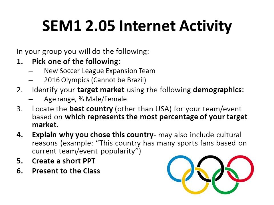 SEM1 2.05 Internet Activity In your group you will do the following: