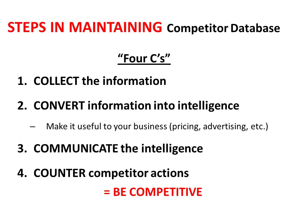 STEPS IN MAINTAINING Competitor Database