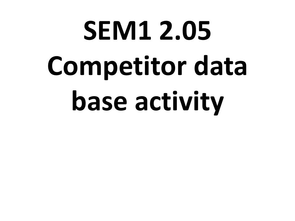 SEM1 2.05 Competitor data base activity