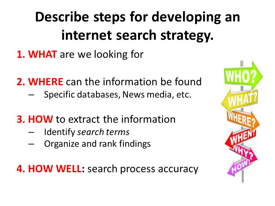 Describe steps for developing an internet search strategy.