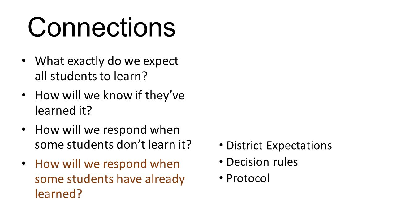 Connections What exactly do we expect all students to learn