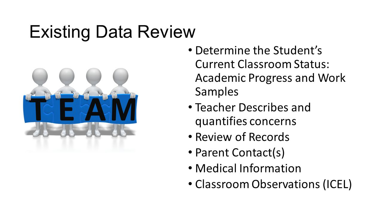 Existing Data Review Determine the Student's Current Classroom Status: Academic Progress and Work Samples.