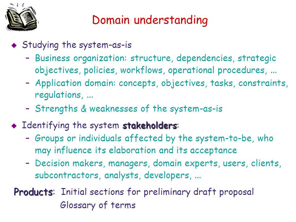 Domain understanding Studying the system-as-is.