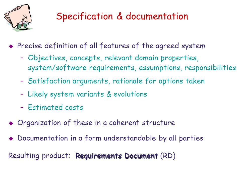 Specification & documentation