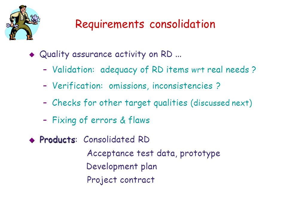 Requirements consolidation