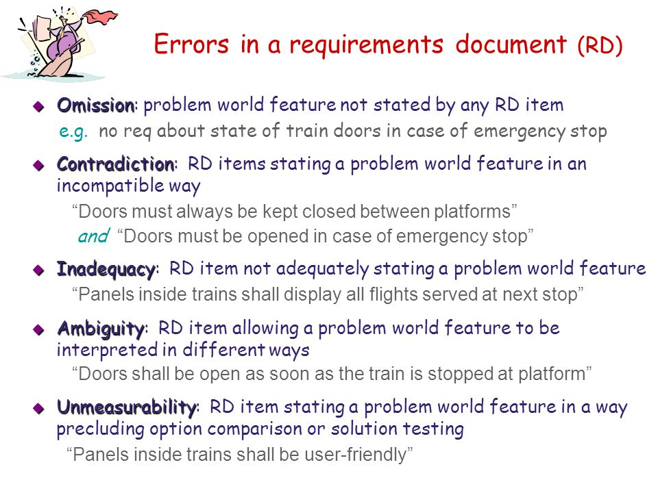 Errors in a requirements document (RD)