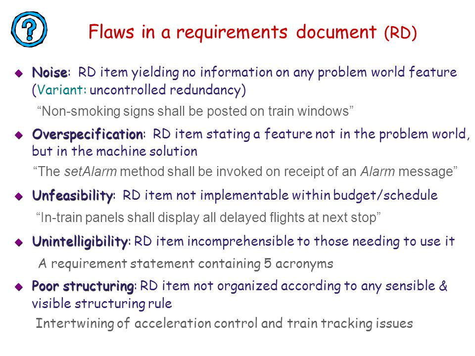 Flaws in a requirements document (RD)