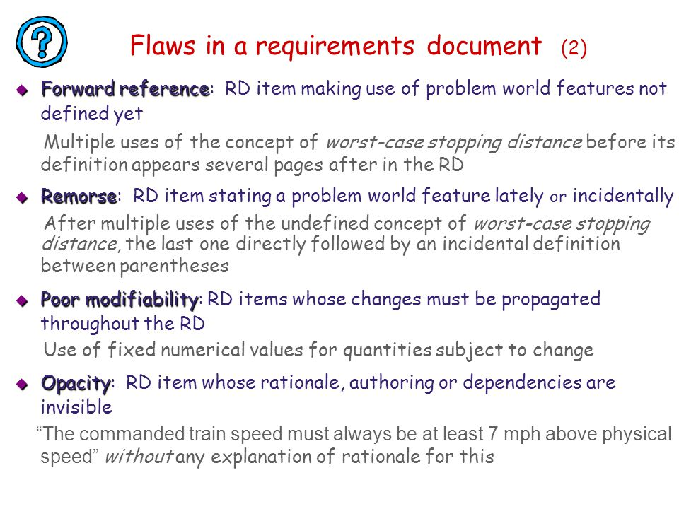 Flaws in a requirements document (2)