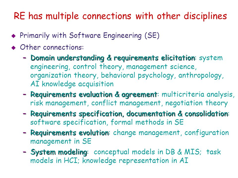 RE has multiple connections with other disciplines
