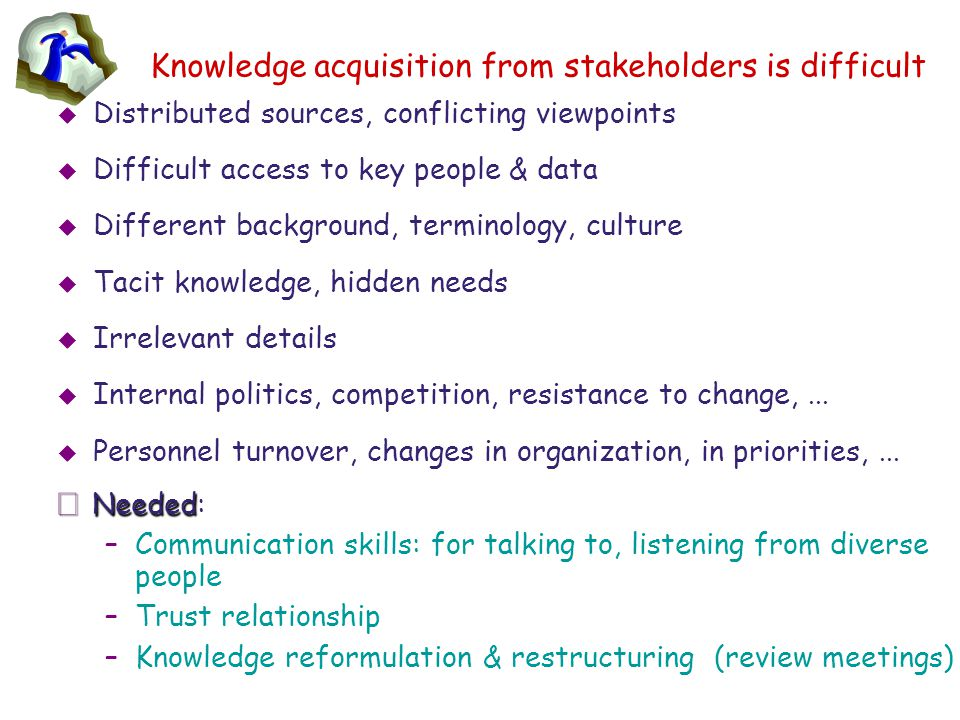 Knowledge acquisition from stakeholders is difficult