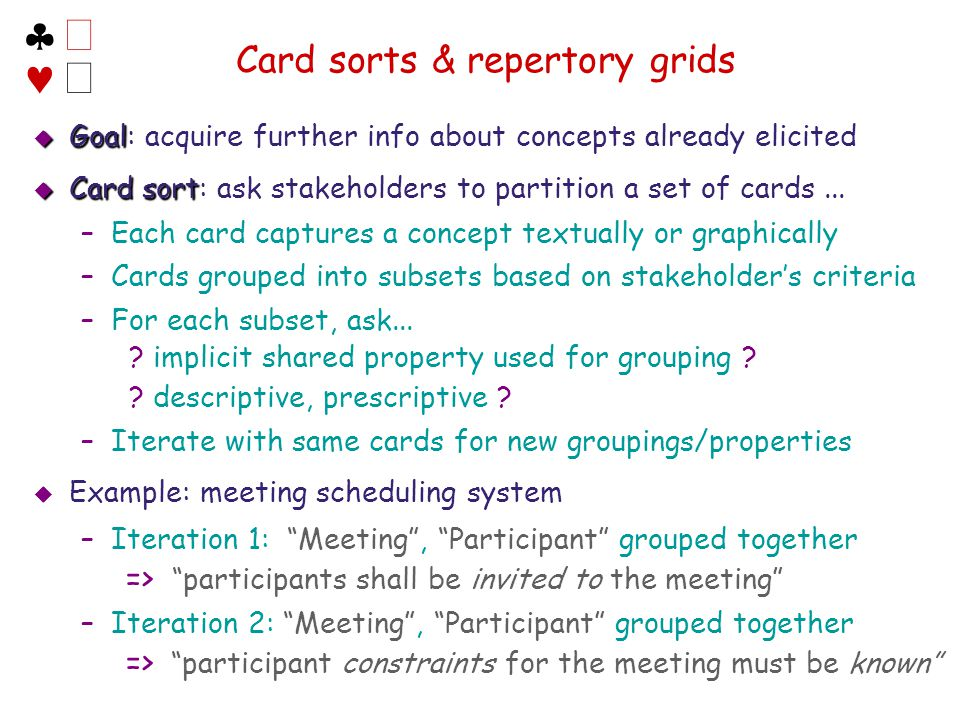 Card sorts & repertory grids