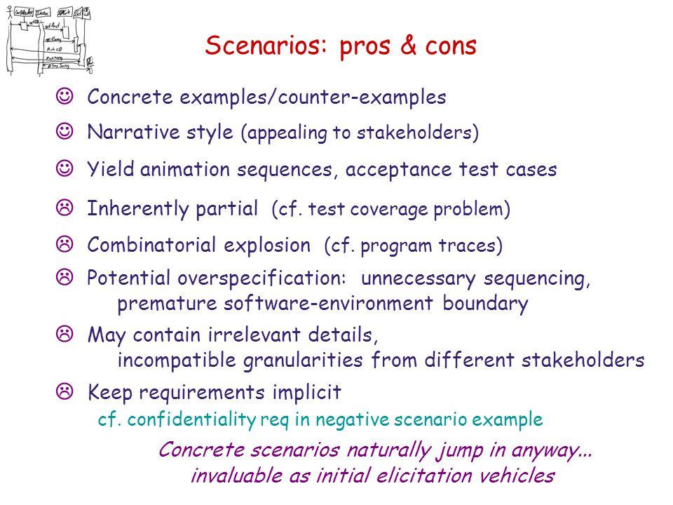 Scenarios: pros & cons J Concrete examples/counter-examples