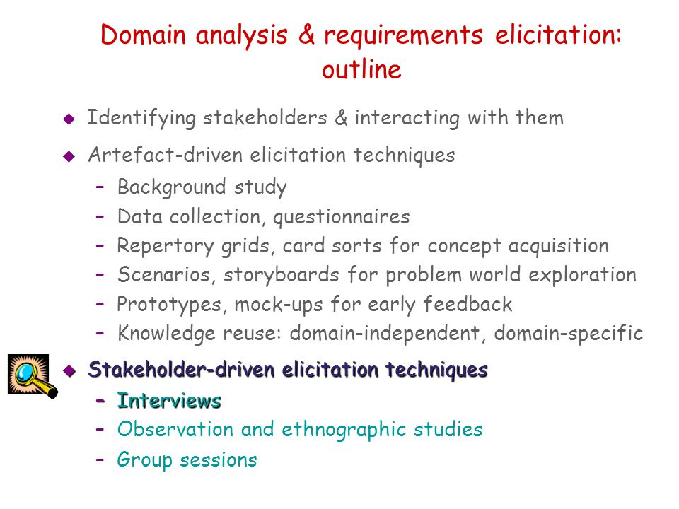 Domain analysis & requirements elicitation: outline